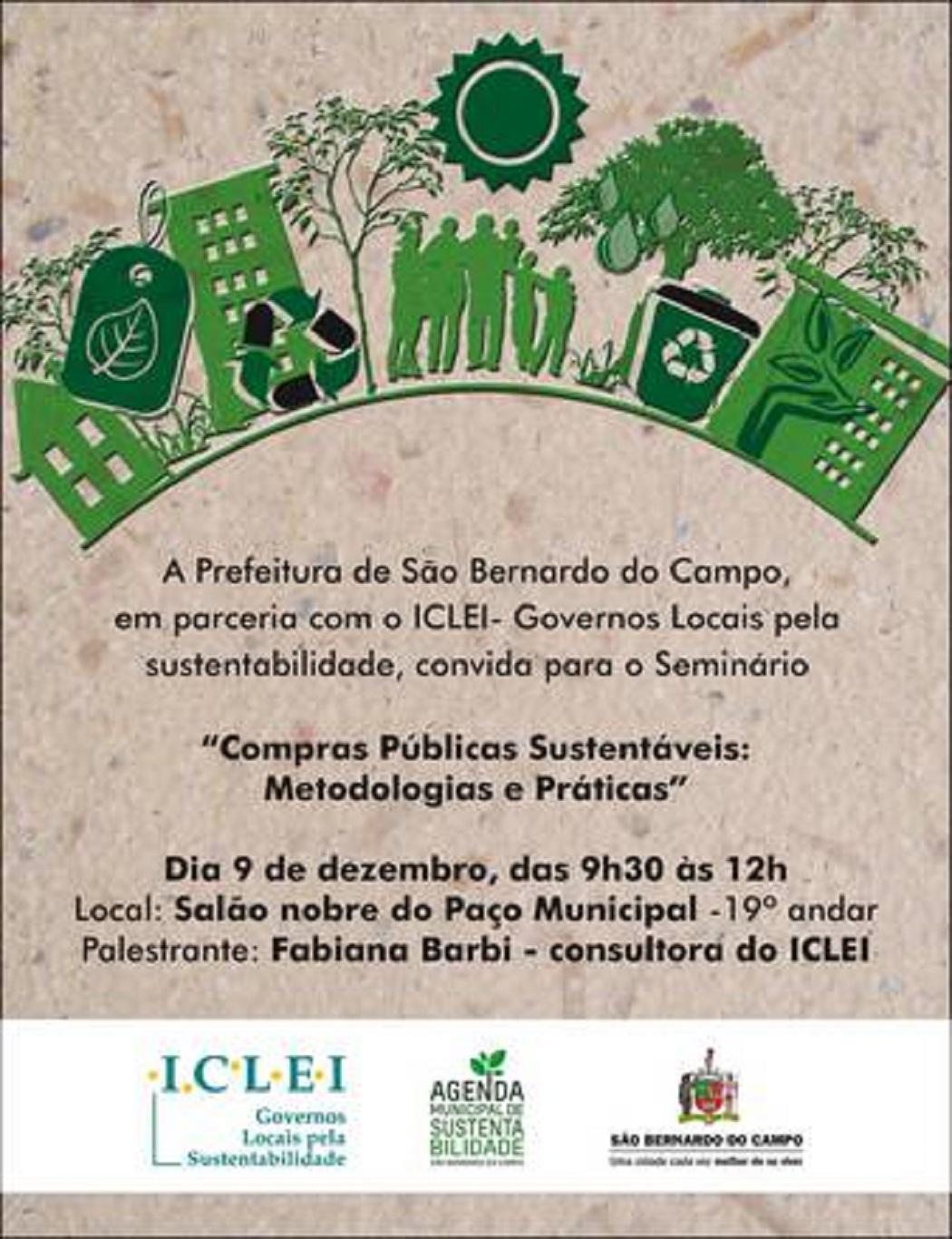 """Seminário """"Compras Públicas Sustentáveis: Metodologias e Práticas"""""""